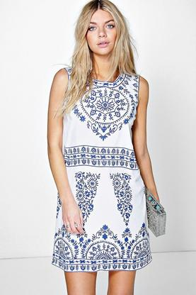Bella Placement Print Sleeveless Shift Dress