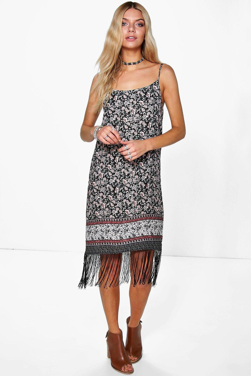 Abigail Fringed Floral Border Print Shift Dress