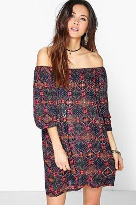 Boutique Ana Mirror Detail Off Shoulder Dress