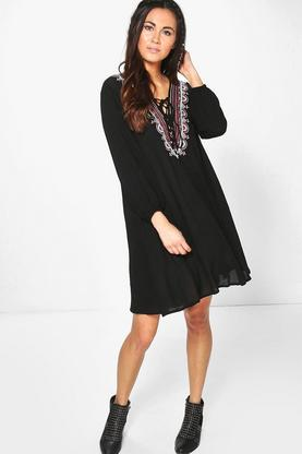 Celine Embroidered Lace Up Shift Dress