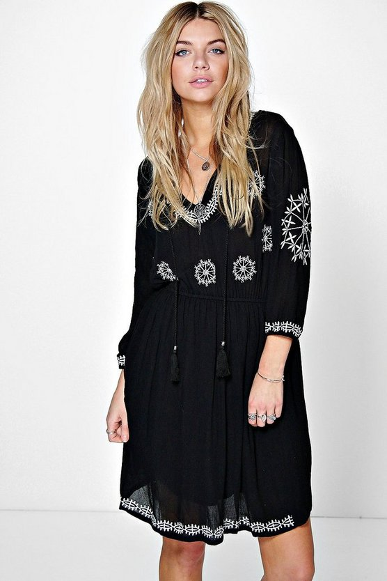 Naila Embroidered Tassel Dress