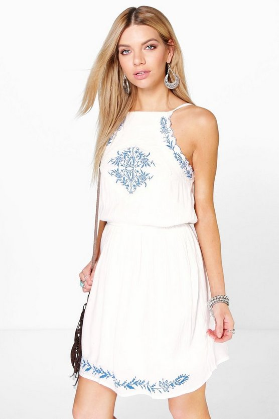 Daisy Embroidered Strappy Sundress