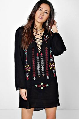 Zahra Tribal Embroidered Lace Up Tunic Dress