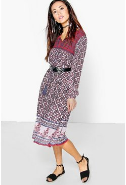 Scarlett Embroidered Border Tassel Midi Dress