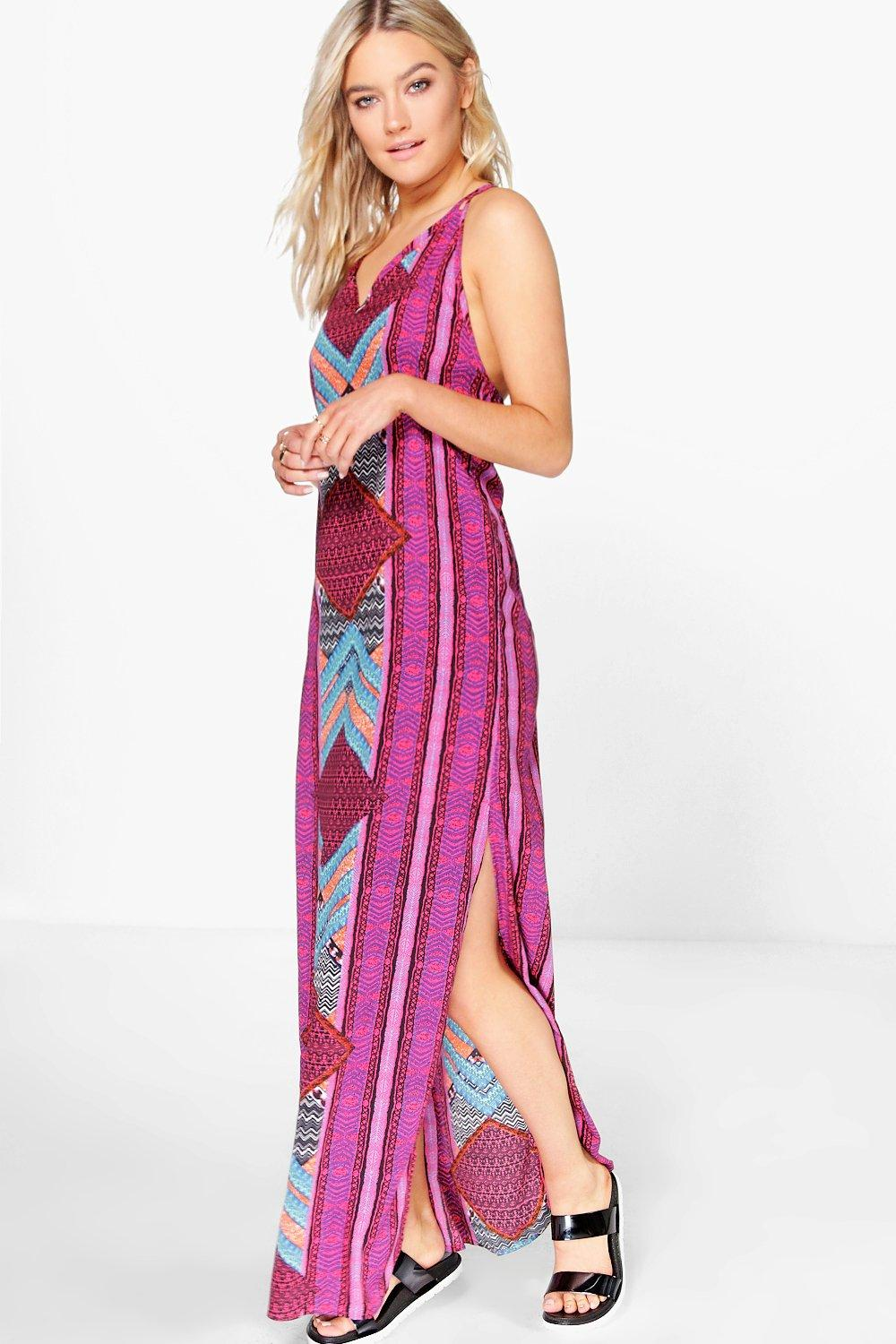 Kate Placement Print Strappy Back Maxi Dress