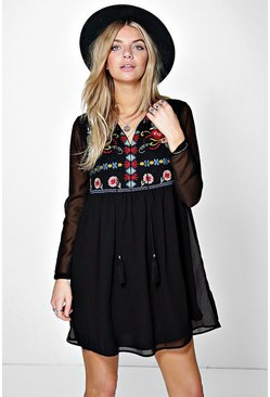 Nora Boutique Embroidered Tassel Smock Dress