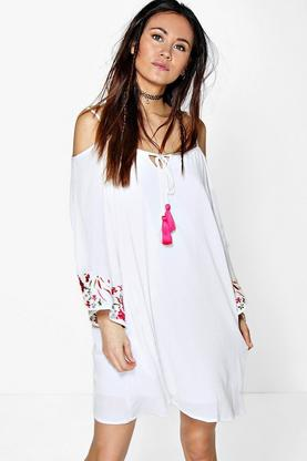 Paris Embroidered Sleeve Off The Shoulder Dress