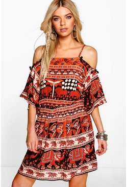 Cora Elephant Print Open Shoulder Dress