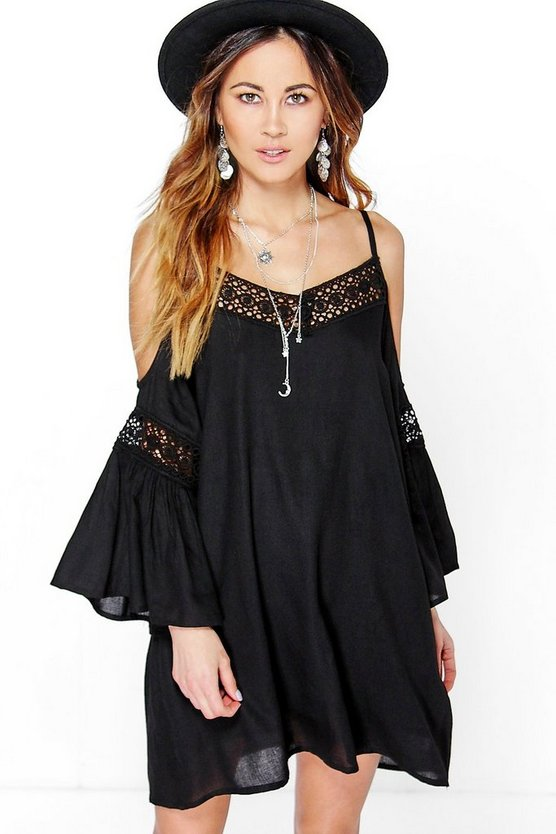 Clover Crochet Insert Open Shoulder Dress