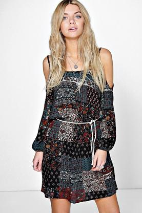 Sandra Patchwork Open Shoulder Skater Dress