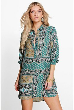 Charlotte Multi Paisley Shirt Dress