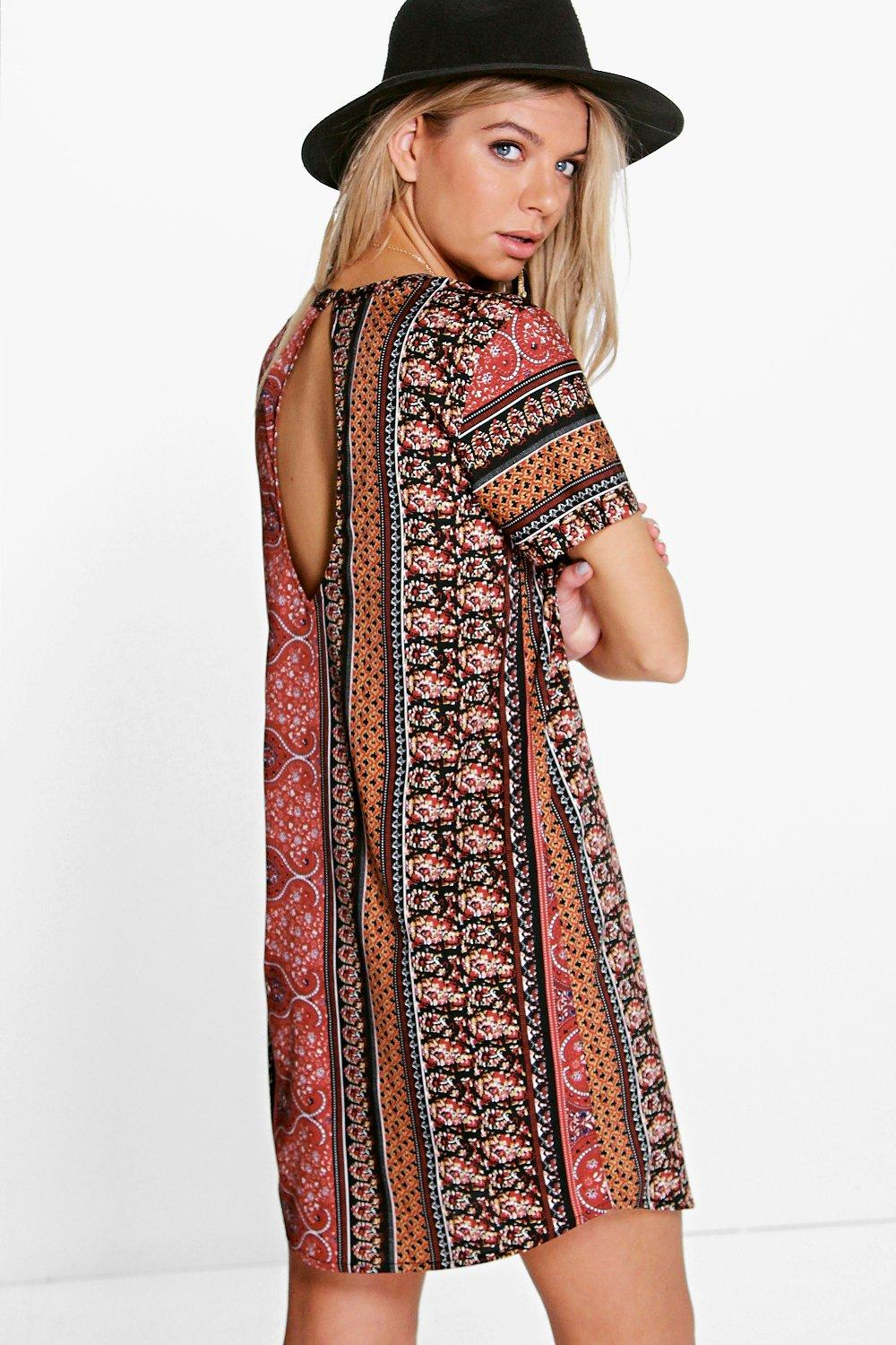 Katherine Paisley Shift Dress at boohoo.com
