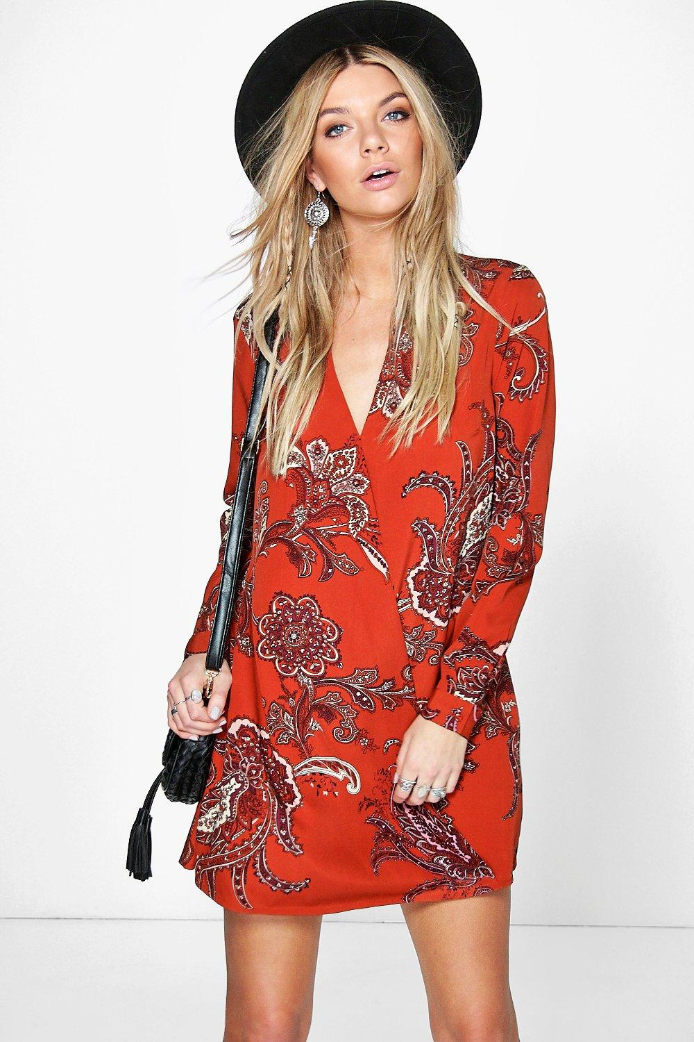 Lillian Paisley Wrap Shirt Dress
