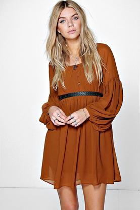 Helen Woven Wide Sleeve Smock Dress