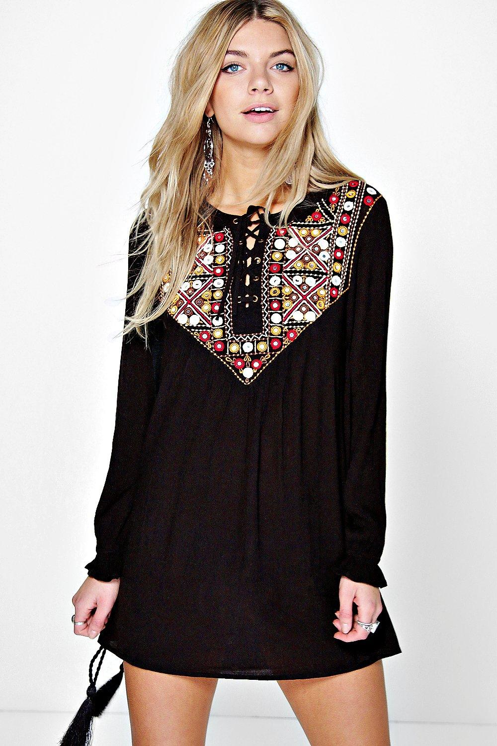 Boutique Eva Mirror Embroidery Smock Dress