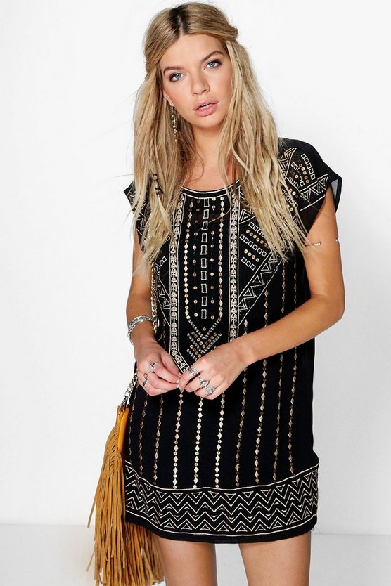Ruth Embroidered Beaded Shift Dress