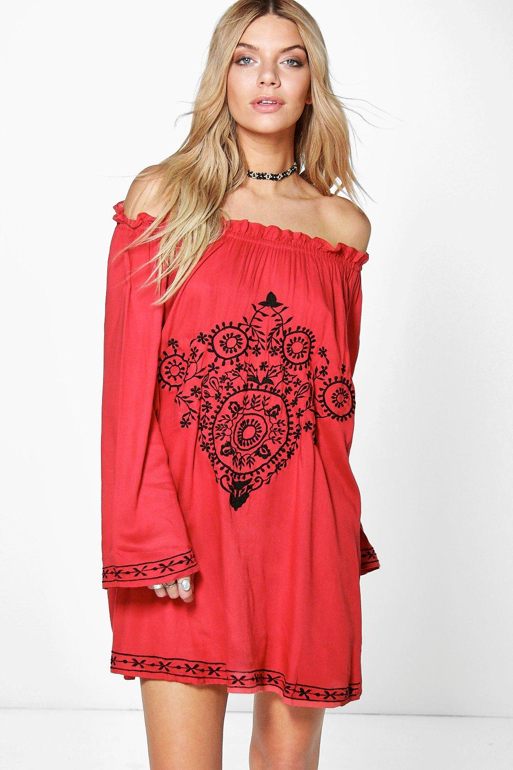 Rebecca Embroidered Off The Shoulder Dress