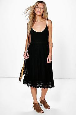 Mary Crochet Insert Strappy Midi Dress