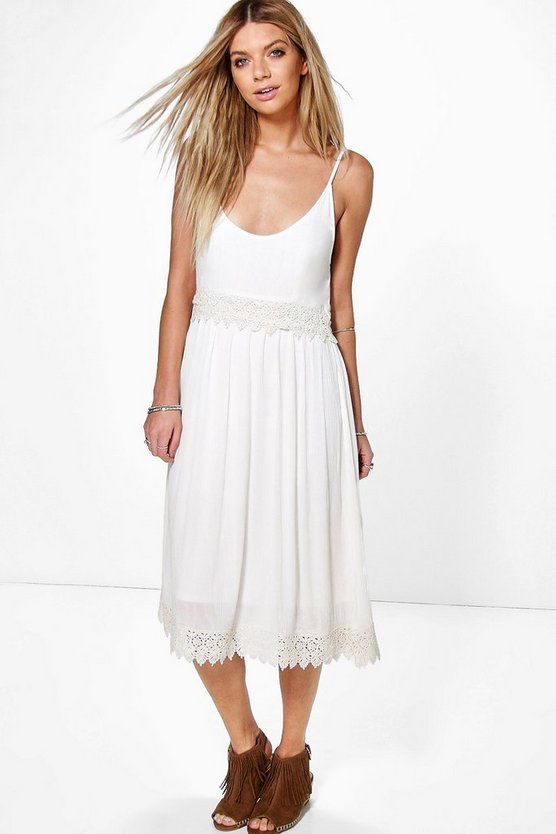 Mary Crochet Insert Strappy Midi Dress