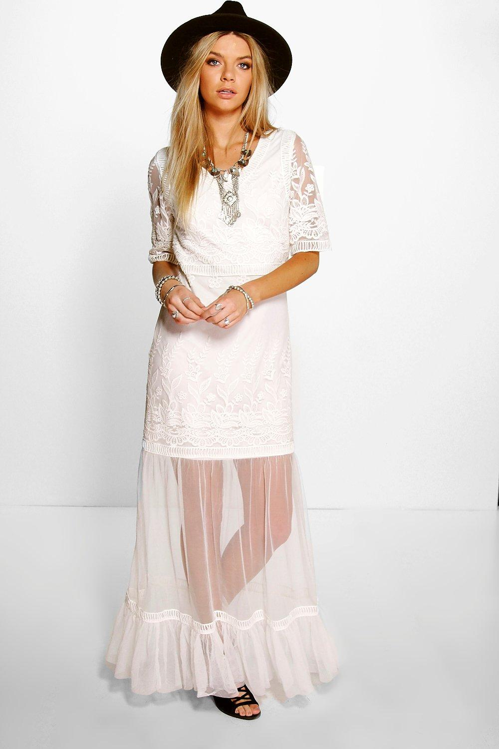 Boutique Lilly All Over Crochet Lace Maxi Dress