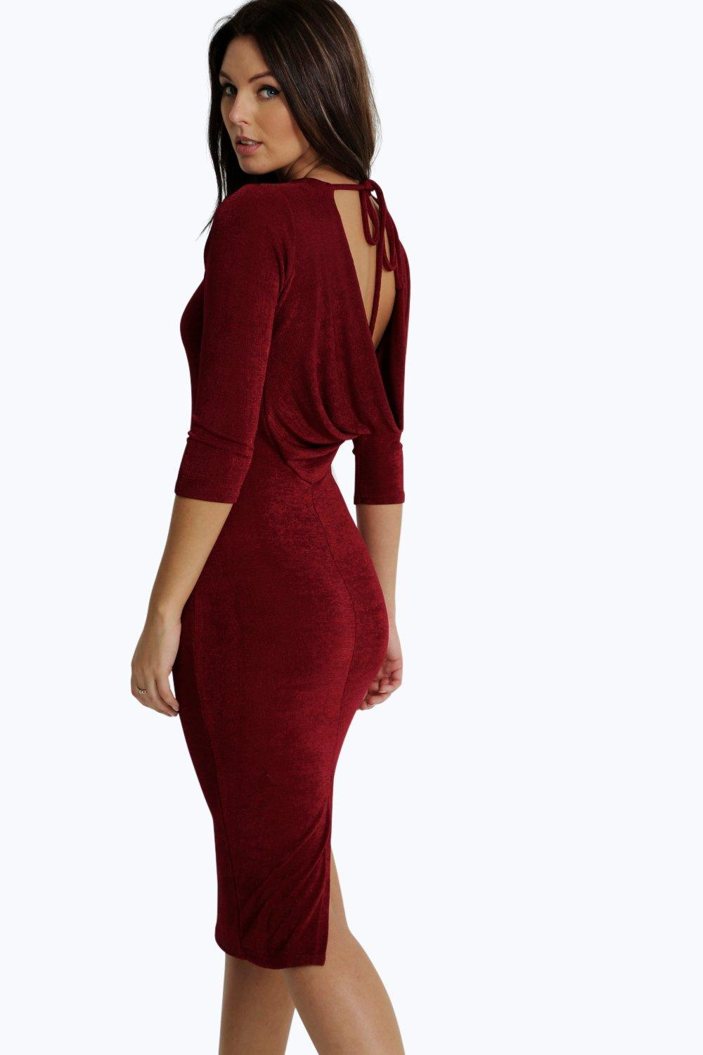 Charlotte Slinky Crepe Cowl Back Midi Dress