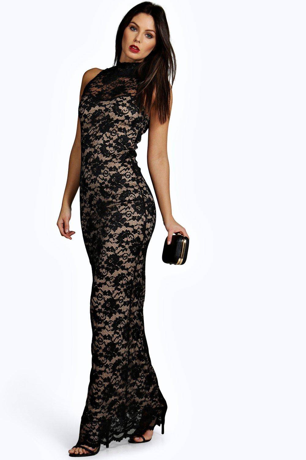 Emily Contrast Lining Lace High Neck Maxi Dress