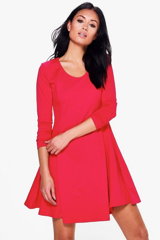 Seam Detail Long Sleeve Skater Dress