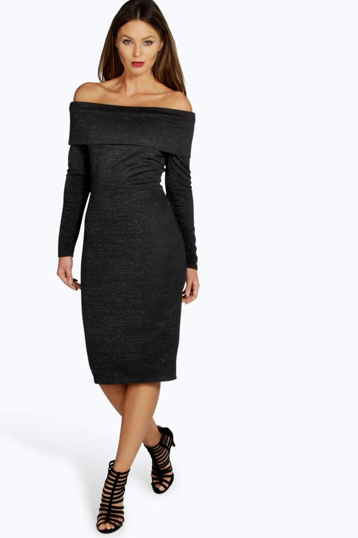 Ribbed Off Shoulder Bodycon Dress black