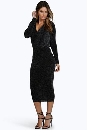 Lynn Metallic Long Sleeve Midi Bodycon Dress
