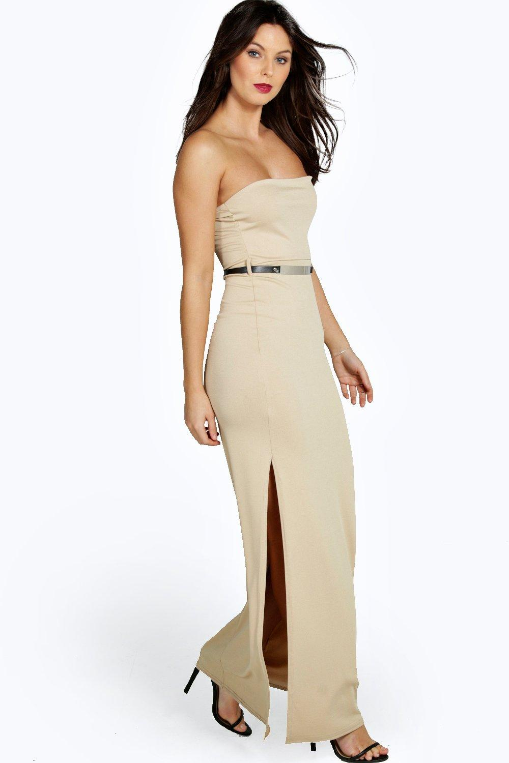 Sophie Bandeau Belted Front Split Maxi Dress