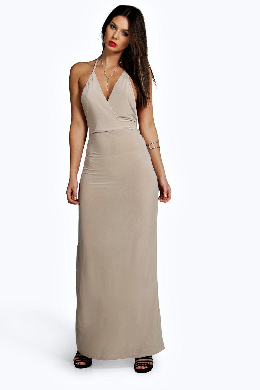 Marie Slinky Wrap Front Drape Back Maxi Dress