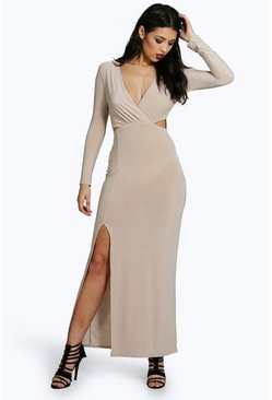 Ava Slinky Long Sleeve Cut Out Maxi Dress