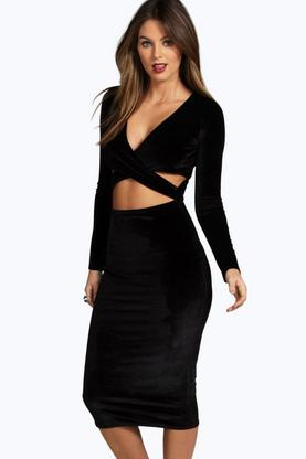 Celine Velvet Long Sleeve Midi Bodycon Dress