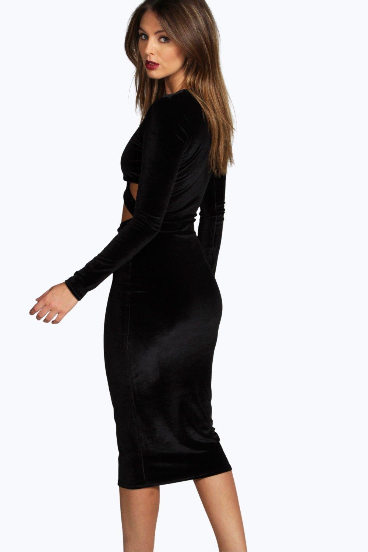 Boohoo Womens Celine Velvet Long Sleeve Midi Bodycon Dress