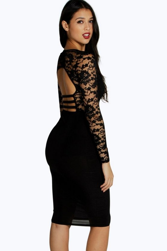 Sia Lace Double Layer Strappy Back Midi Dress