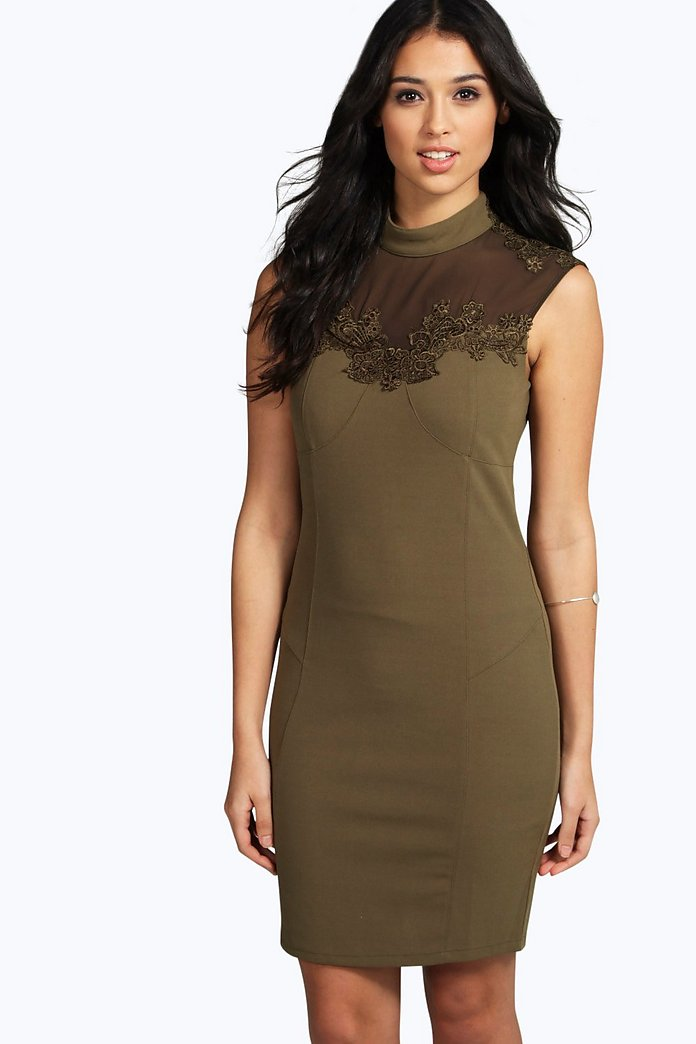 Carla Crochet Lace Panel Mesh Bodycon Dress