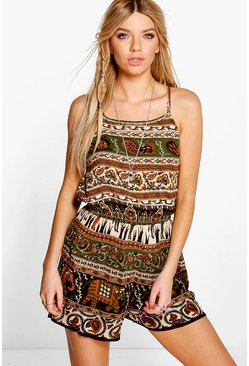 Lorna Tassel Trim Animal Print Playsuit
