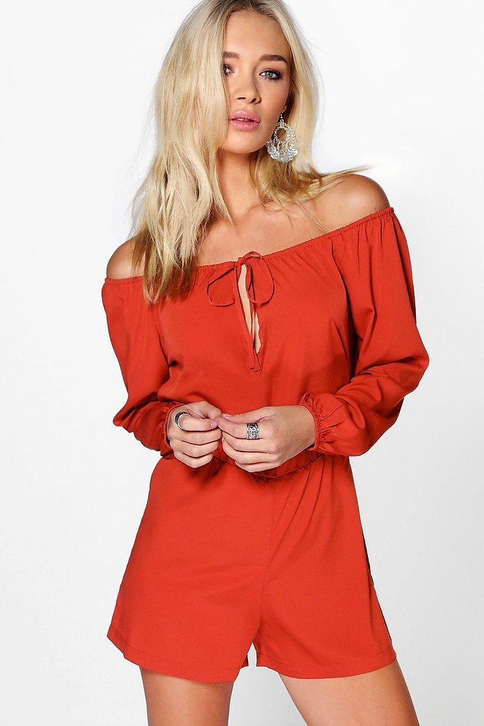 Nellie Off The Shoulder Woven Playsuit