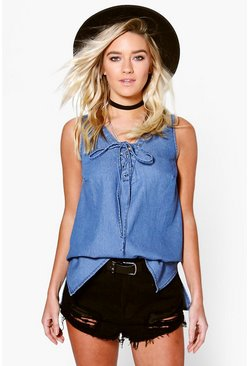 Lisa Denim Lace Up Front Sleeveless Swing Top
