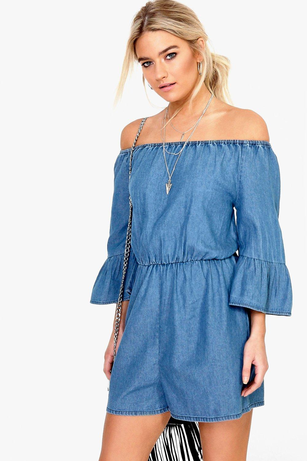 Kellie Ruffle Off The Shoulder Denim Playsuit