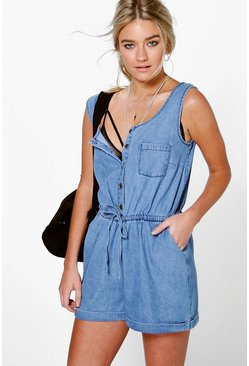 Jenni Utility Style Denim Playsuit