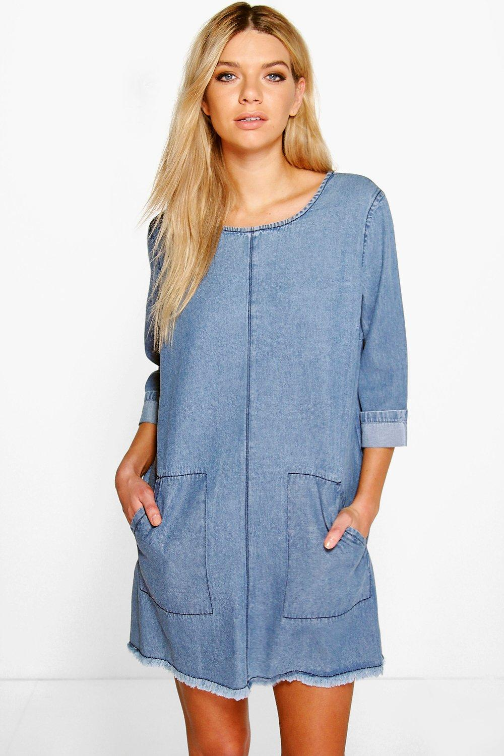 Lucy Patch Pocket Fray Edge Denim Shift Dress