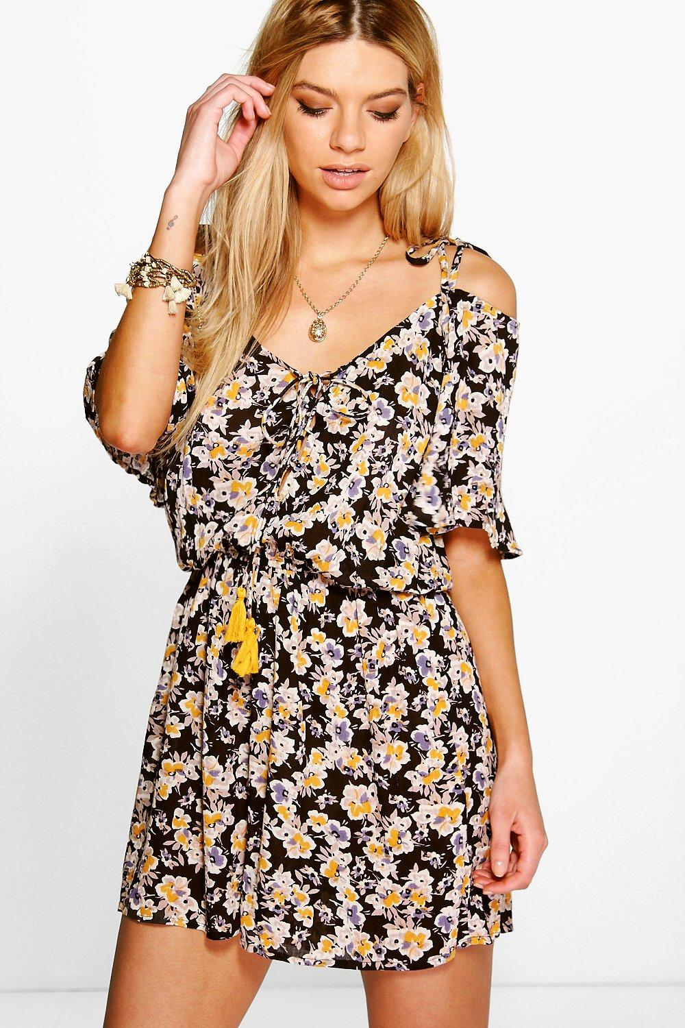 Julia Floral Print Off The Shoulder Playsuit