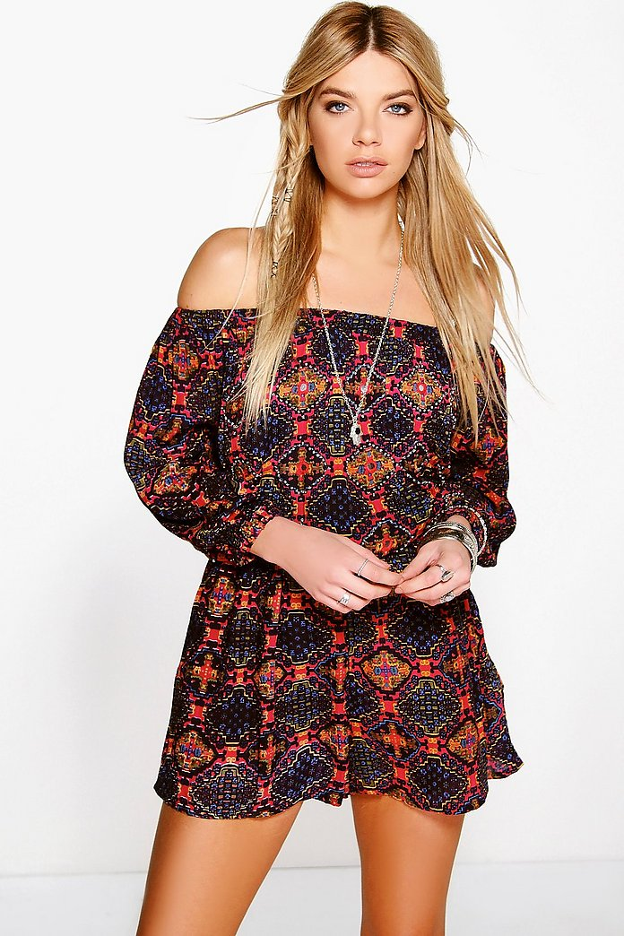 Boutique Mya Off The Shoulder Mirror Detail Playsuit