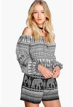 Marnie Elephant Print Off The Shoulder Playsuit