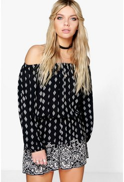 Rachel Off The Shoulder Placement Print Playsuit