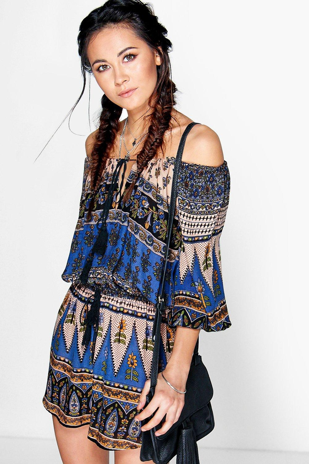 Nina Off The Shoulder Woven Playsuit