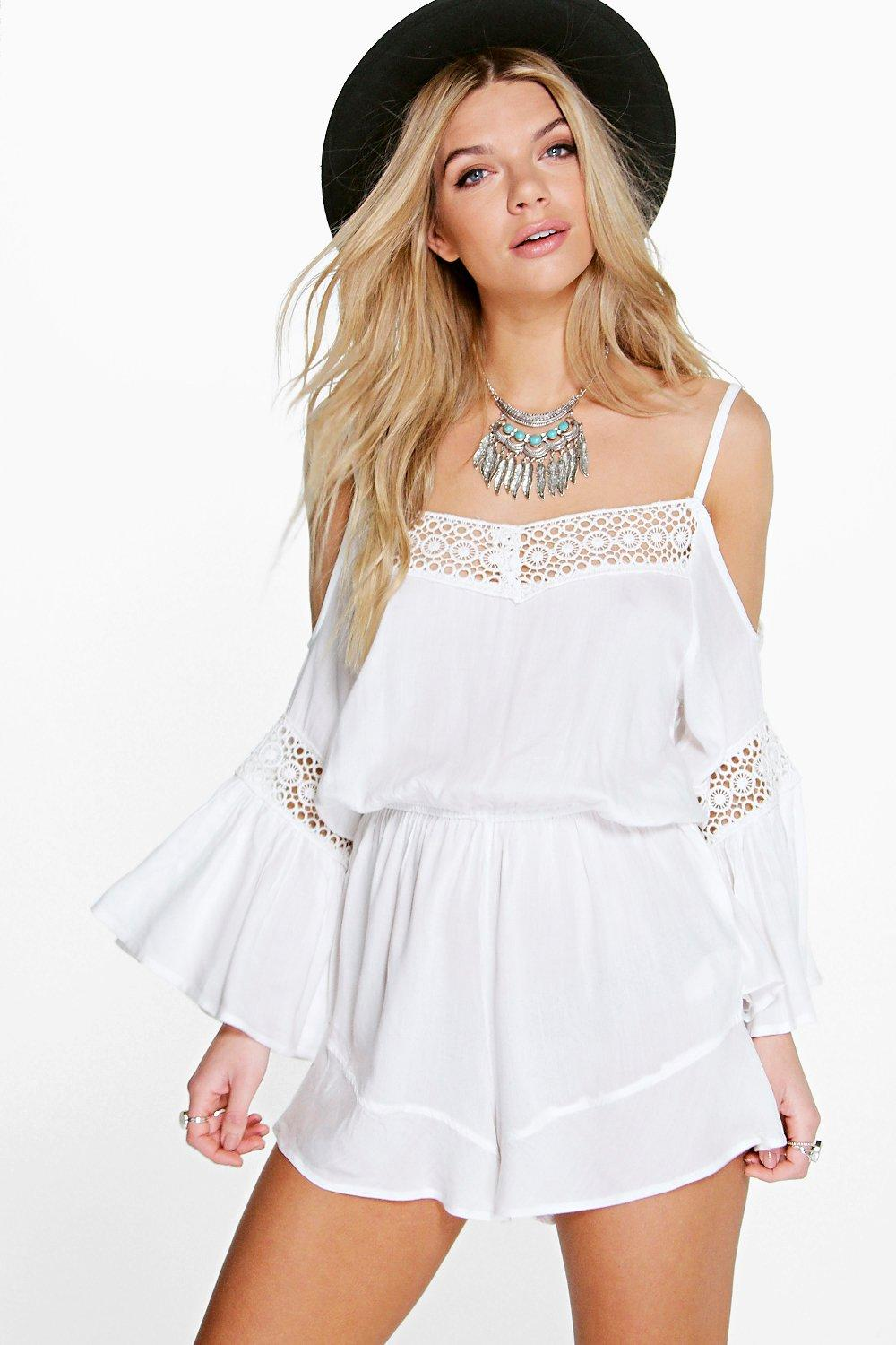 Olivia Open Shoulder Crochet Trim Playsuit