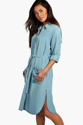 Lucia Denim Roll Sleeve Maxi Shirt Dress