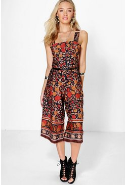 Abbie Floral Border Print Cut Out Culotte Jumpsuit